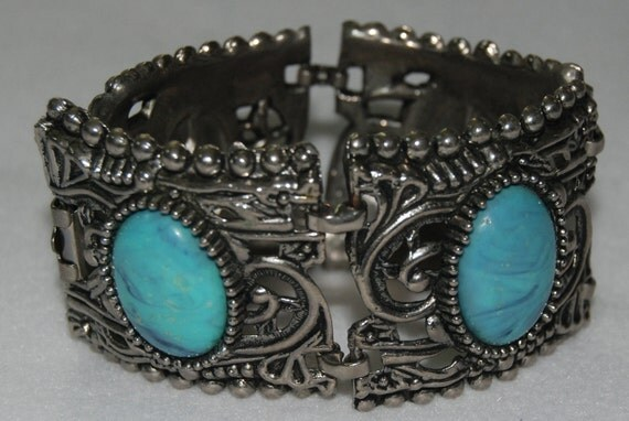 Sturdy silver and turquoise bracelet