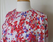 Vintage Women's Polka-dot blouse, Chiffon Secretary Blouse, Small - Medium