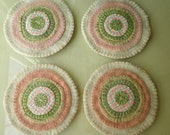 PINK and GREEN SPRING  Penny Rug Wool Coasters Set of 4