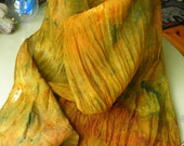 "COPPER Hand Dyed  Silk/wool  Scarf   12 x 56""  OOAK"
