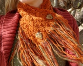 The Montana Hickey Hider : A Burnt Orange Fringed Cowl Scarf with Handmade Wooden Buttons