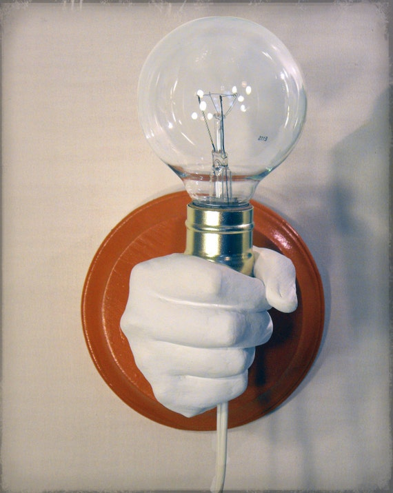 Etsy Wall Lamps : Items similar to Hand Holding Bulb Wall Lamp (Orange) on Etsy