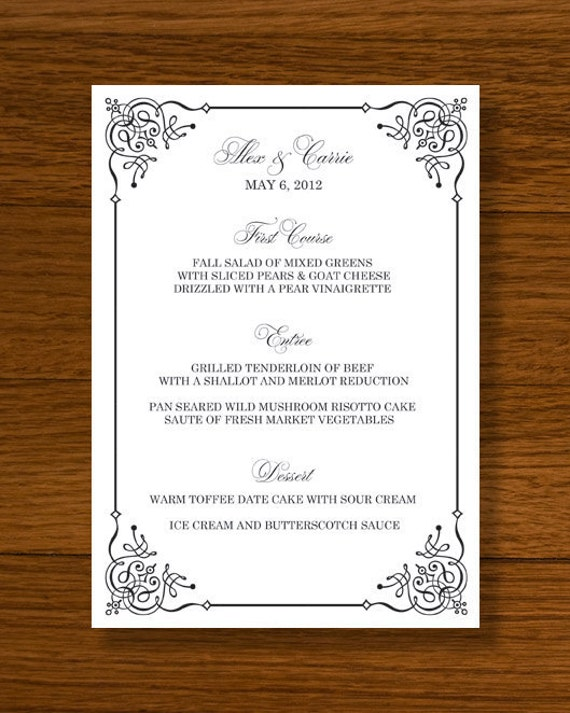 free wedding menu templates word .