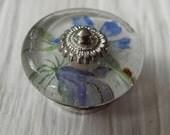 Floral Decoupage Glass Cabinet Knob