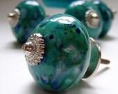 1 Turquoise Speckled Ceramic Cabinet Knob