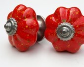Pair of Bright Red Fireworks Ceramic Knobs