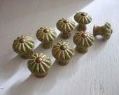 Set of 6 Green Ceramic Knobs