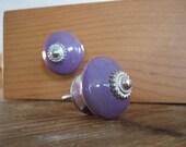 Pair of Lilac Ceramic Cabinet Knobs