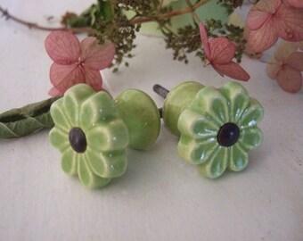 Pale Green Ceramic Flower Knob
