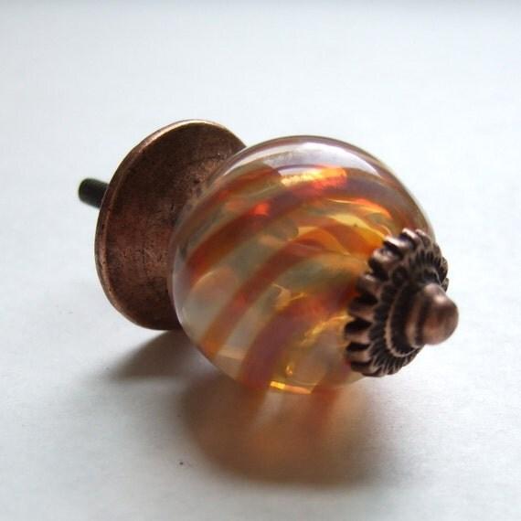 Pink Swirls Lampwork Glass cabinet Knob