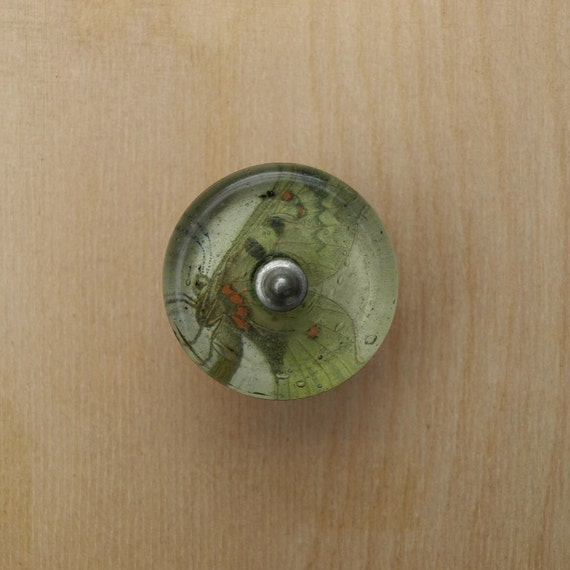 Glass Decoupage Cabinet Knob Butterfly
