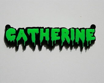 Custom Horror Font Nameplate Necklace Laser Cut Acrylic