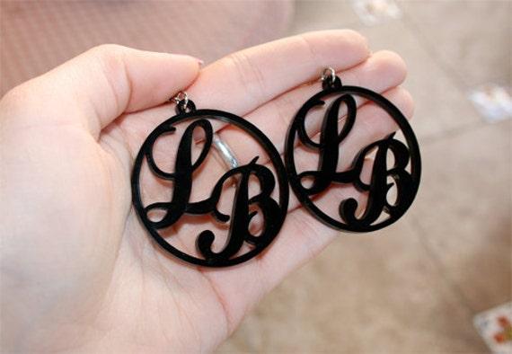Custom Letter Hoop Earrings Laser Cut Acrylic