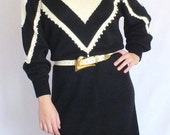 Black and White Sweater Dress with Pearl Beading 80s - Size: Large