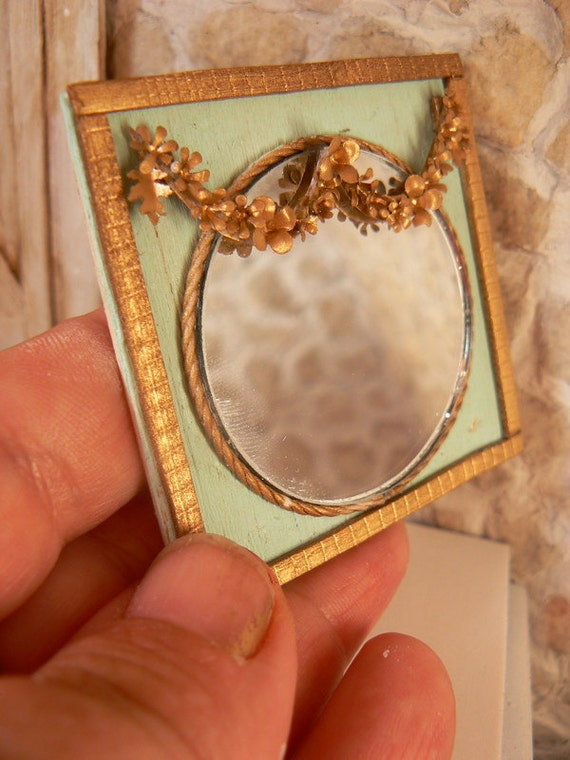 RESERVED---------------Turquoise and gold mirror for dollhouse