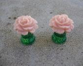 0 gauge Peach Rose Plugs