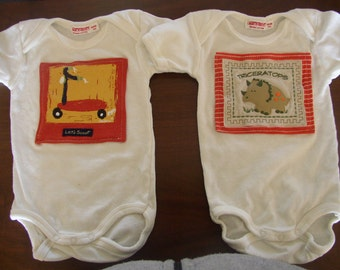 Newborn Organic Cotton Onesies with Orange Upcycled Appliques