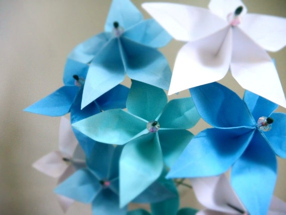 Breezy Blue Stars - Whimsical Origami Paper Flower Bouquet