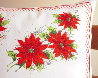 Handmade Christmas Pillow Cover, Vintage Handkerchief, Christmas, Poinsettias, Candy Cane Trim, Christmas Gift