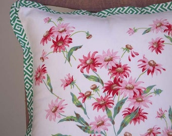 Handmade Pillow Cove, Easter Gift,  Mother's Day Gift, Vintage Tablecloth with Pink Flowers