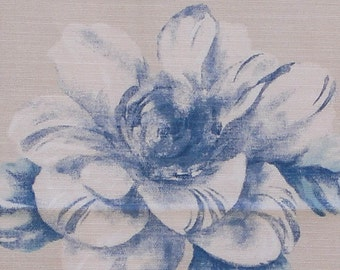 Designer Fabric - Blue Flowers Dance, Camellia, Gardenia, Decorator Pillow, Supplies