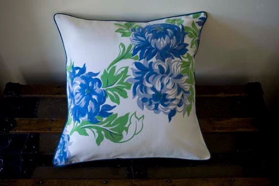 Handmade Decorative Pillow Cover -Vintage Tablecloth with a  Cool Garden Breeze