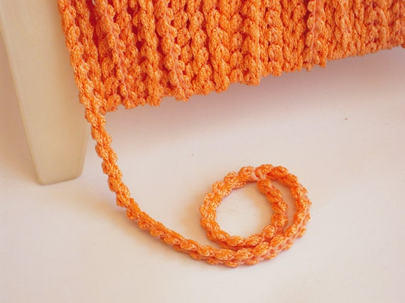 Special Listing for Madame Paisleys - Woven cording - Vintage 1970's in Hippie Happy Orange