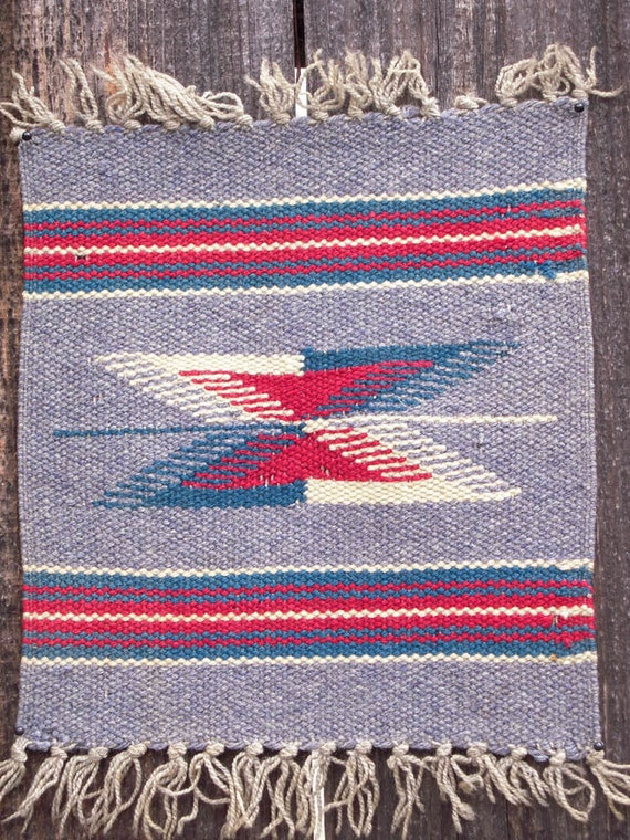 Vintage Chimayo Small Woven Rug New Mexican Weaving Wall