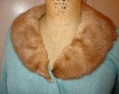 Vintage 50s Mohair Wool Real FUR Collar Sweater Top - Light Blue - Size 36 MAD MEN. Mint