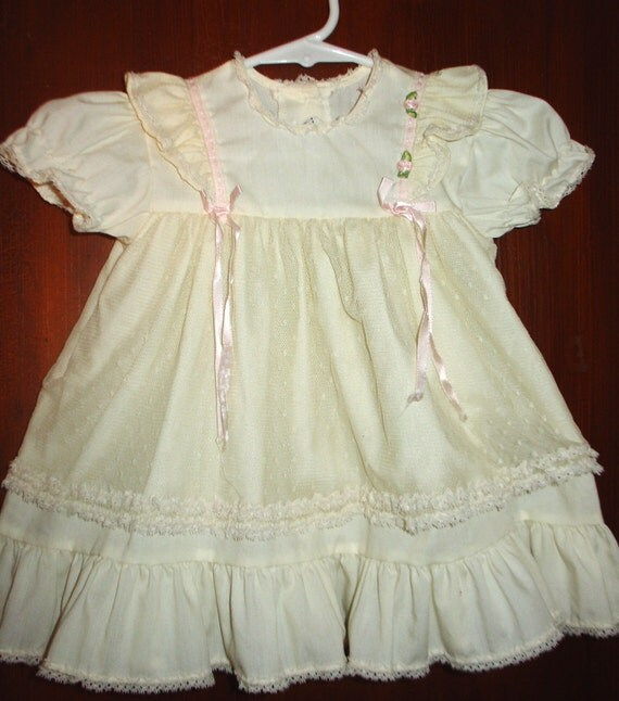 VINTAGE 50s Baby girls Ivory Lace Ruffled Tiered Summer Tea Party Church DRESS. 18 month