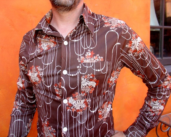 DISCO groovy Vintage Men's 70s Brown Art Deco Pattern Polyester Shirt