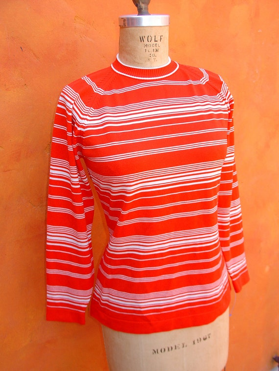 SALE Vintage 50s 60s Dk Orange Red MOD Striped Sweater Shirt Top - Mad Men - EUC