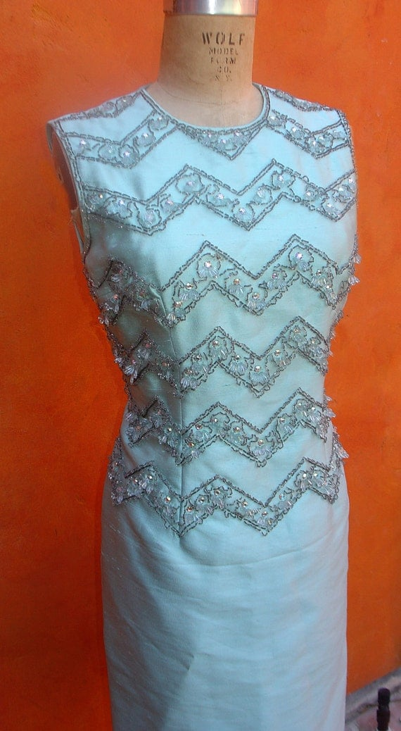 Couture Vintage Women's 1960s Pale Aqua BEADED Rhinestone Bodice Party Cocktail DRESS. Mad Men.