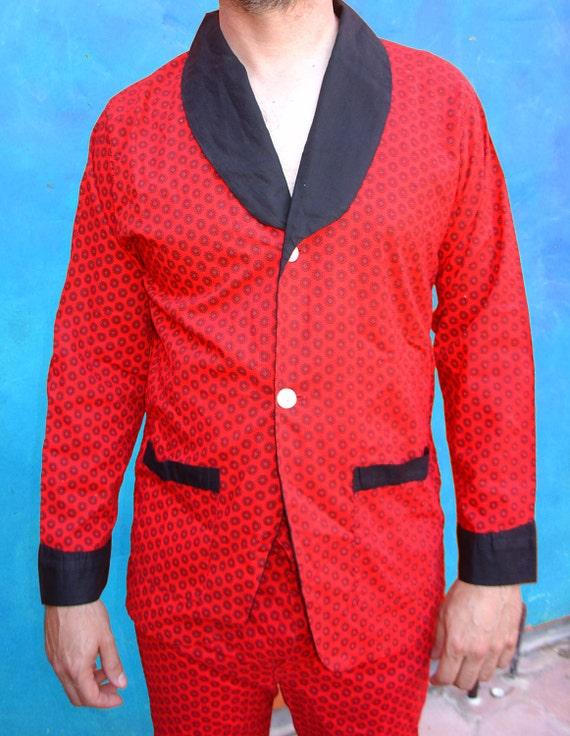 Honey, have you seen my pipe. Vintage 1950s Atomic Red and Black Men's Pajamas. Top and Pants.