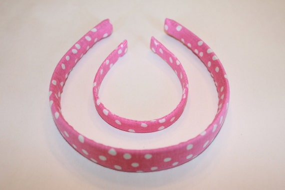 My Doll and Me Headband Set - Pink with White polka dots