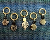 Five-piece stitch marker set--black and white spirals