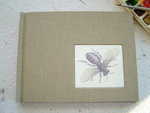 Hand-bound watercolor sketchbook--full cloth with inset bee print