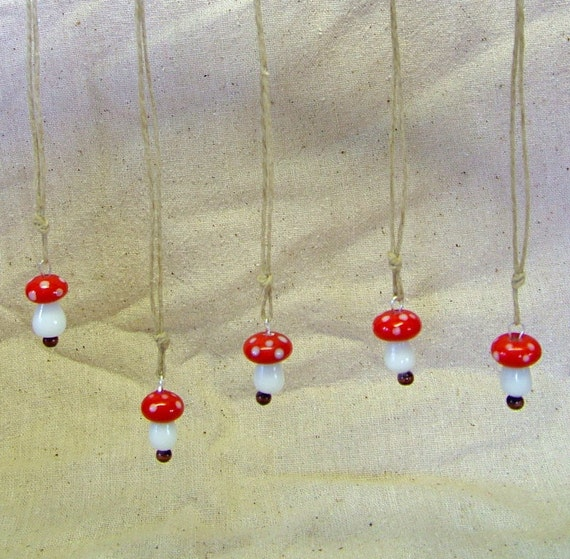 Glass Toadstool pendant necklace