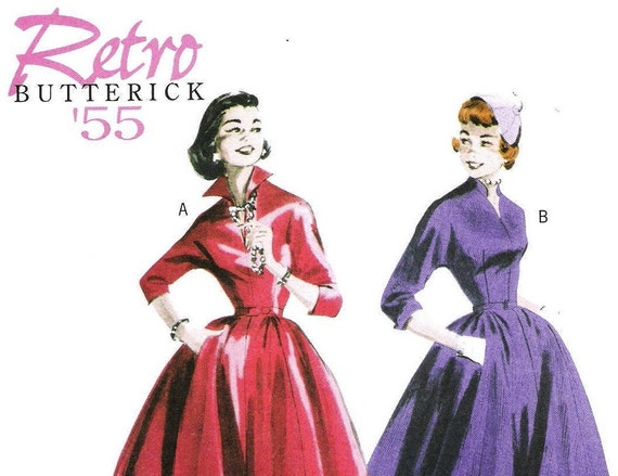 1950s Full Skirted Dress Pattern Butterick 5556 (Womens sizes 8-10-12-14)