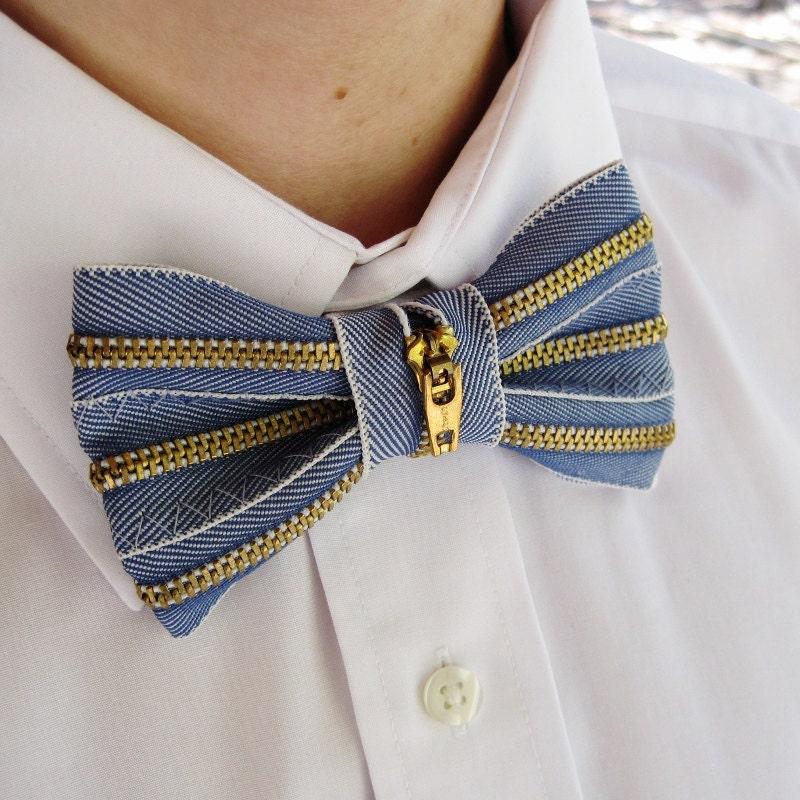 upcycled denim zipper mens bow tie by stitchyspot on etsy