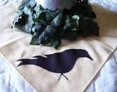 Vintage Primitive Crow  Stitchery Linen Doily Candlemat