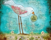 Be More 12x12 Mixed Media Original Painting, Bird and Inspirational Quote
