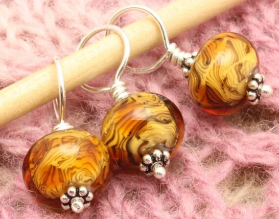 Glass Stitch Markers - Tiger Stripes -  A KnittersTool
