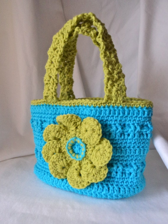 RESERVE LISTING for mideastmom. Turquoise crocheted bag, flower removed and replaced with owl per request