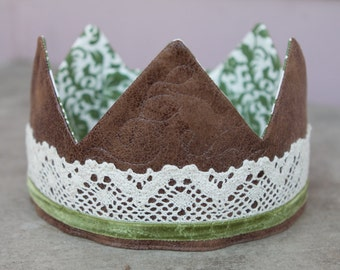 Leather and Lace Fabric Crown