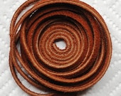 5 Feet Suede Leather Medium Brown 1/8 Inch  Cord.