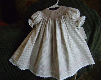 Tan and white Bishop style dress