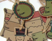 Christmas Gift Tags hand drawn on recycled kraft