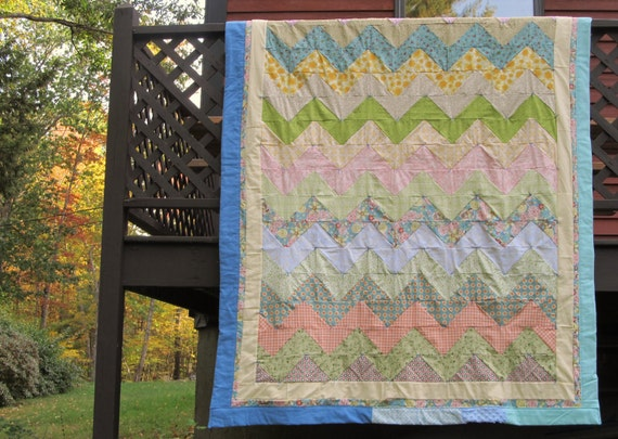 Caitlin's Making Waves Quilt: oversized twin quilt  made with ultra soft fabric