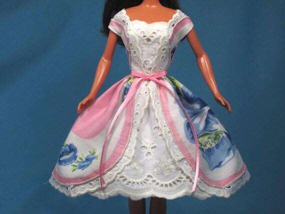 Vintage Hankie Rose Dress Hand Made Barbie Dolls Clothes Barbie Doll Dress
